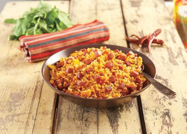 BULGUR PILAFF (a type of bulgur dish) WITH PINAR TURKISH STYLE SAUSAGE AND TOMATO PASTE