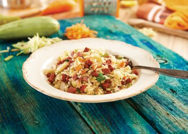 ORZO PILAF WITH PINAR TURKISH STYLE SAUSAGE AND ZUCCHINI